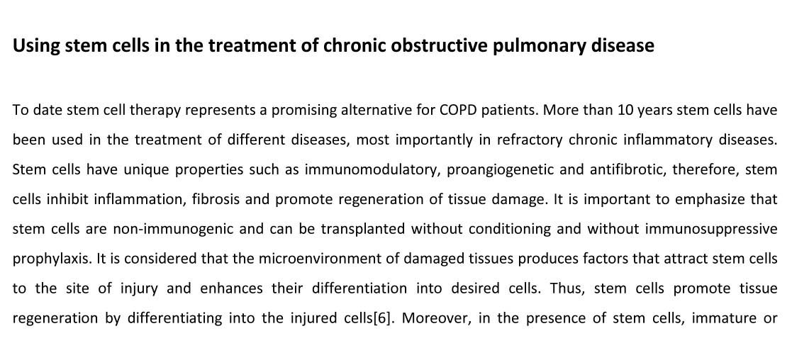 Copd stem cell treatment
